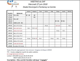 Meeting du SAF horaires